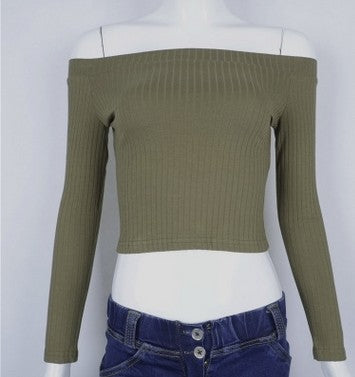 Women T Shirt Off Shoulder Crop Top For Women Long Sleeve Solid Short T-Shirt Women Slash Neck Cotton t shirt women-SHIRTS-SheSimplyShops