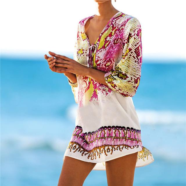 New Arrivals Beach Caftan Swimsuit Cover up Print Chiffon Women Swimwear Dress Sexy Beach Tunic-Dress-SheSimplyShops