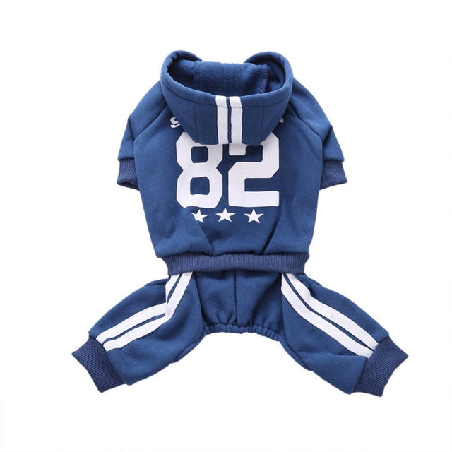 Drop Number82 Striped Sports Dog Tracksuit Warm Cotton Pet Dog Jumpsuit Winter Puppy Clothing 80919