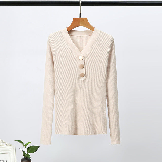 GOPLUS Colorful Knitted Sweater Women Buttons V neck Long Sleeve Women's Sweater Winter Warm Slim Sweaters Pull Femme