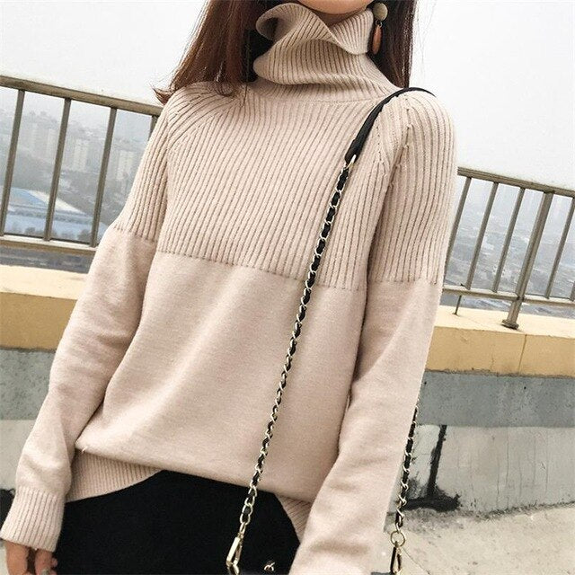 19new sweater women turtleneck Loose sweaters pullover women striped knitted sweater cashmere sweater women winter clothes women