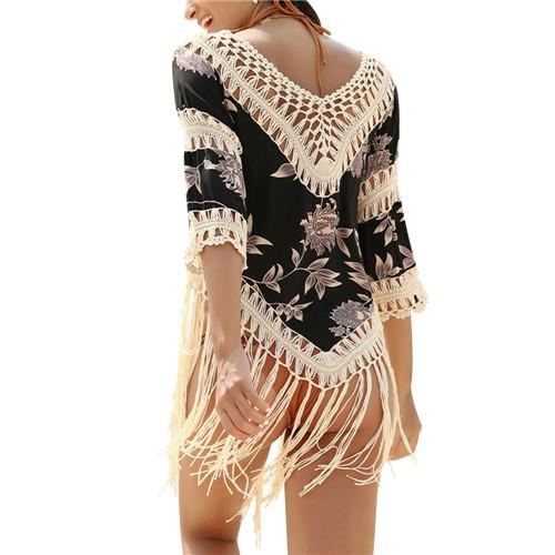 Crochet beach cover up tassel for bikini set bathing suit beach swimsuit coverups sexy hollow beach blouse-Dress-SheSimplyShops