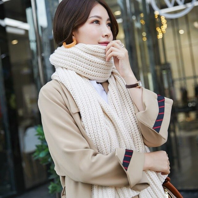 GOPLUS Winter Knitted Scarf Women Luxury Thick Warm Women's Scarves Shawl Long Scarf Men's Bandanna Bufandas Mujer