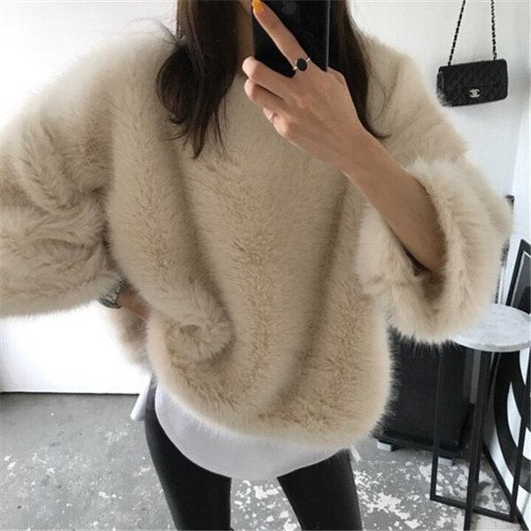 RUGOD Solid Women Pullovers Loose Knitted Warm Winter Clothes O Neck Elegant Women Sweaters sueter mujer invierno