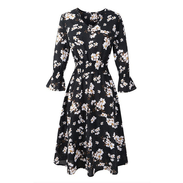 GOPLUS Boho Floral Print Chiffon Dress Women Deep V Neck Flare Sleeve Midi Dress Ladies Spring Elegant Vestidos Female