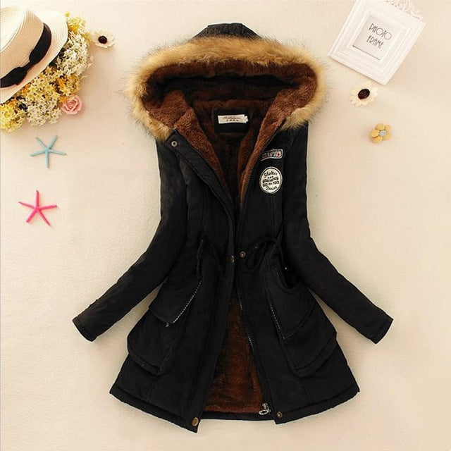 Women Parka Autumn Winter Warm Jackets Women Fur Collar Coats Long Parkas Hoodies Office Lady Cotton Plus Size