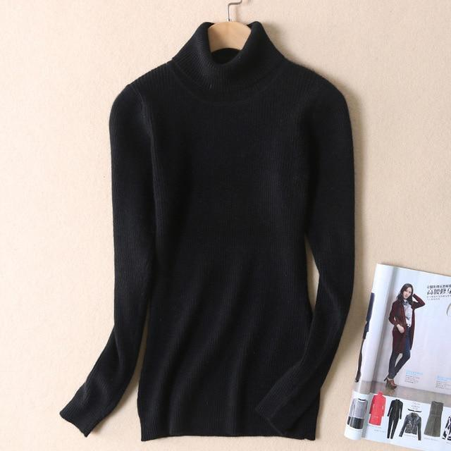 Autumn and winter cashmere sweater female high collar sets of sweaters Slim sweater solid warm wool jacket