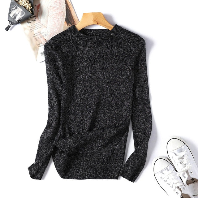 Shiny Sequin Sweater Women Long Sleeve Women Pullover Sweater Autumn Winter Basic Womens Sweaters Christmas Sweater pull femme