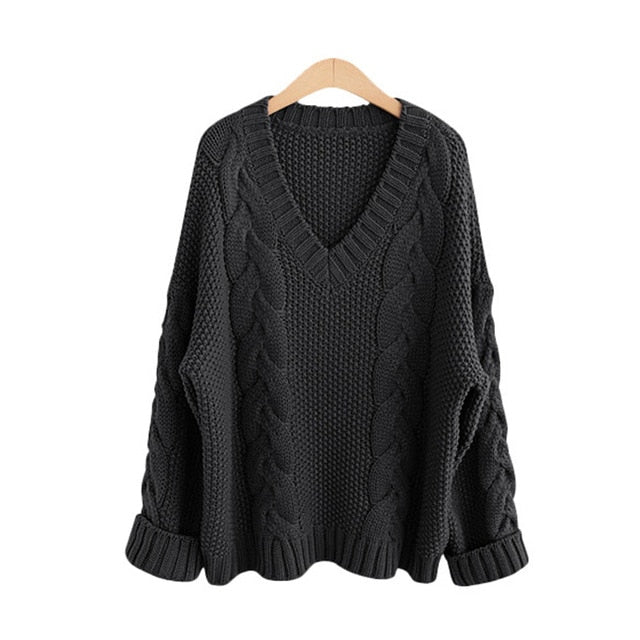 Autumn Winter Sweater Women Solid Warm Oversized Long Sleeve Sweater Casual V Neck Pullover Loose Knitted Sweaters Black