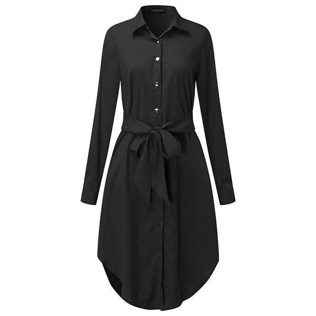 Autumn Belted Blouse Shirt Dress Women Solid Color Midi Female Dresses Long Sleeve Casual Clothes Tunic-Dress-SheSimplyShops