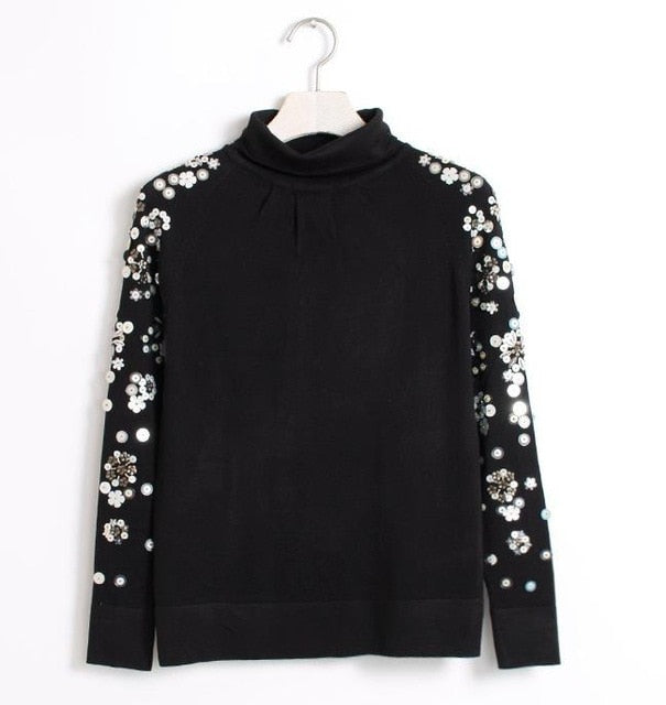 beaded black turtleneck sweater bottoming sweater woman