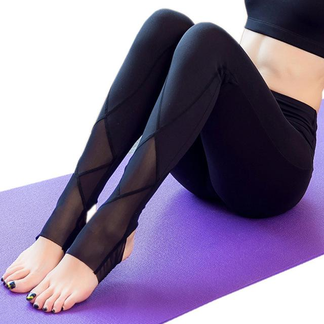 Yoga Leggings Women Gym Foot Tights New Arrival Transparent Mesh Sport Foot Pants Yoga Legging Fitness academia-SheSimplyShops