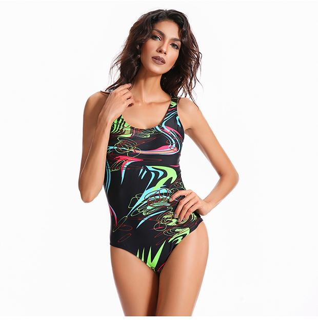 New Women's Swimwear One Piece Sports Swimsuit Padded Bather Beachwear Slimming Swimming Suit for Women-SheSimplyShops