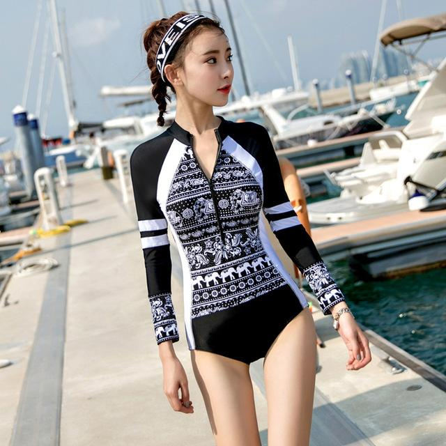 Long Sleeve Swimwears for Women One Piece Swimsuit Zipper Rash Guards Slim Girl Summer Swimming Suit RASH GUARD Printed-SheSimplyShops