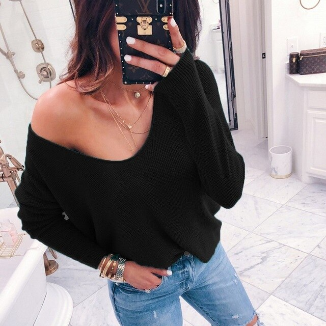 VIEUNSTA V neck Off Shoulder Sweater Women Casual Long Sleeve Ribbed Solid Pullover Female Autumn Winter Knitted Tops