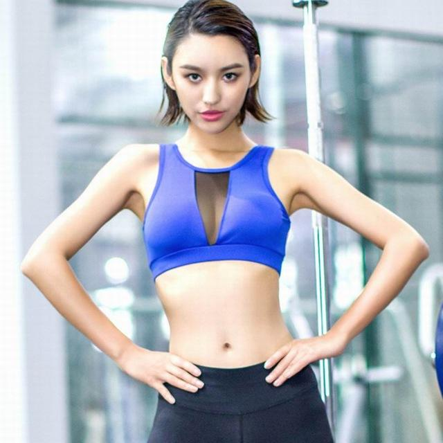 Mesh Patchwork Sport Bra Fitness Padded Yoga Bra For Women Shockproof Workout Gym Sports Push Up Bra crop top Running-SheSimplyShops
