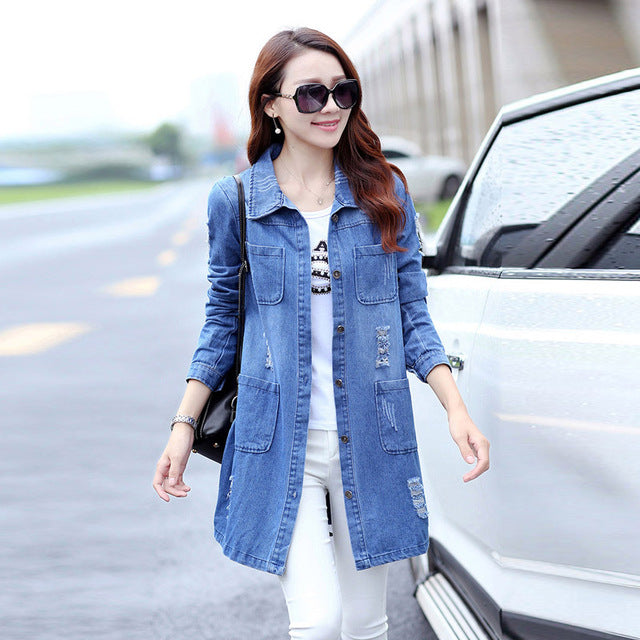 Long Denim Jacket Women Vintage Slim Autumn Winter Outerwear Single Breasted Bomber Jackets Overcoat Plus Size 5XL