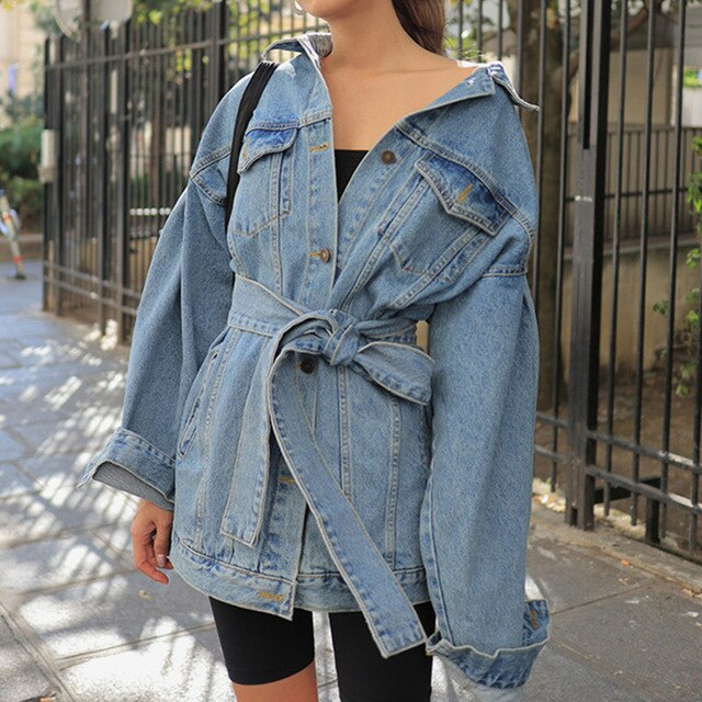 Colorfaith Autumn Winter Women's Denim Jackets Sashes Lace Up Outerwear High Street able Blue Long Jeans JK8922