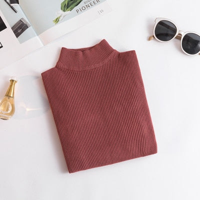 Duckwaver coming Autumn Turtleneck Pullovers Sweaters Primer shirt long sleeve Short Korean Slim fit tight sweater
