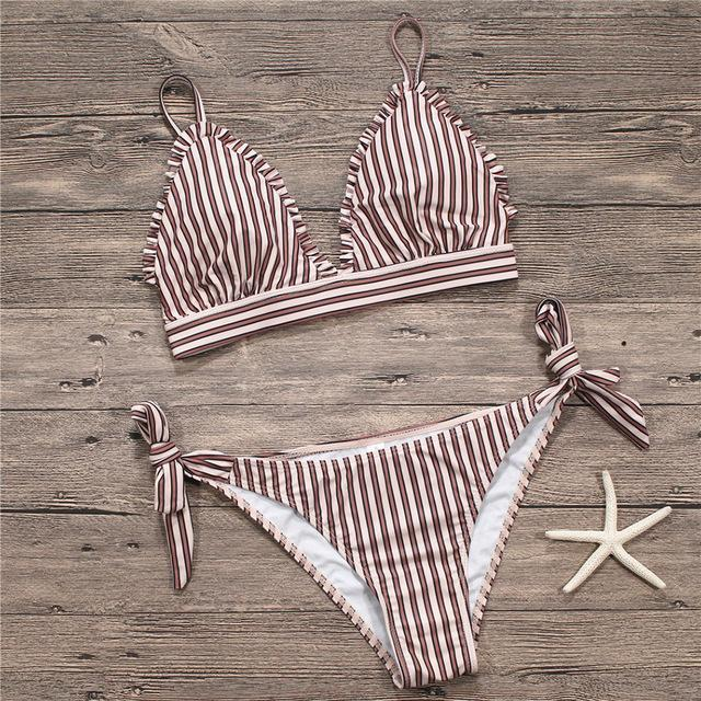New Bikini Swimwear Women Swimsuit Female Bandage Bathing Suits Bikinis Set Striped Bottom Vintage Solid Beachwear Swimming-Bottoms-SheSimplyShops