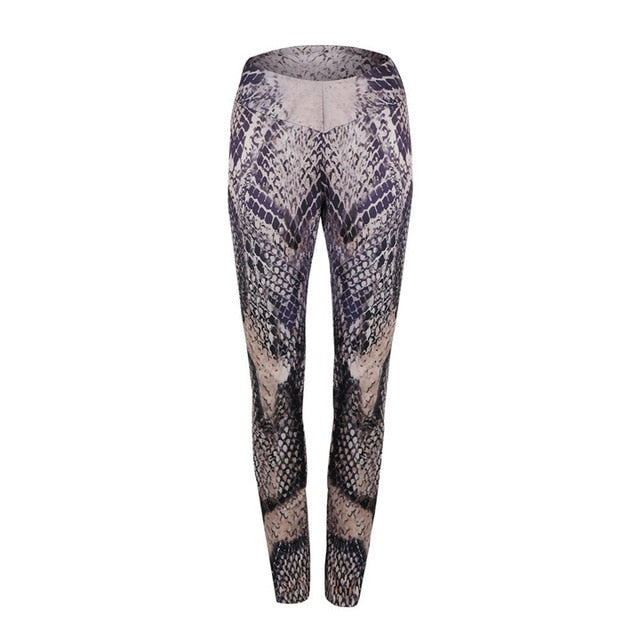 SALSPOR Women Sport Leggings Fitness Snake Skin Printed Yoga Pants High Waist Push Up Keep Slim Gym Snake Leggings Female