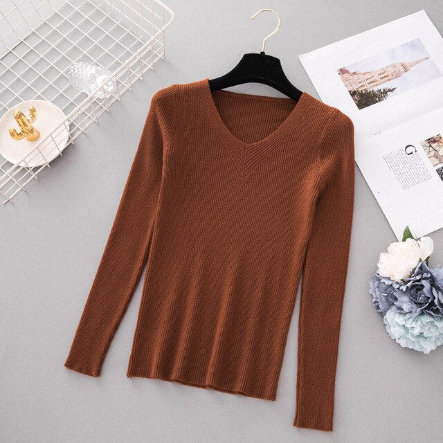 Autumn Pullover Women V Neck Sweater Knitted Jumper Womens Sweaters Winter Tops For Women Sweaters And Pullovers Trui Dames