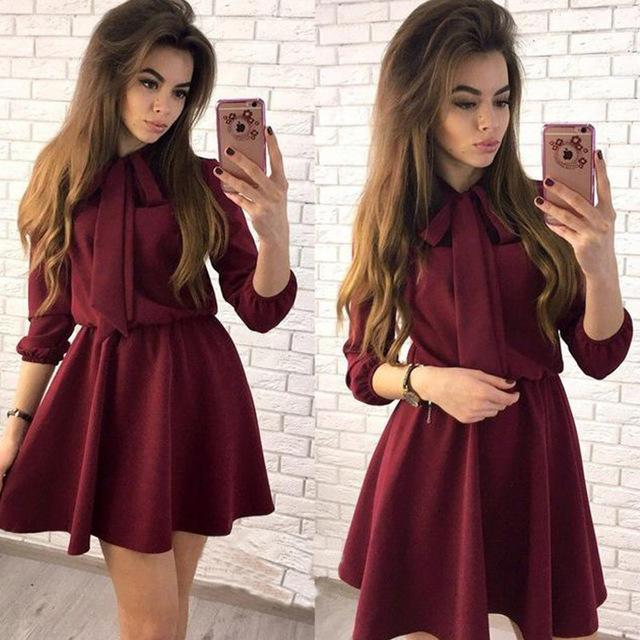 Women Fashion Bow Causal Party Dress Wrist Sleeve A-line O neck Solid Vintage Dress Spring Women Mini Dresses-Dress-SheSimplyShops