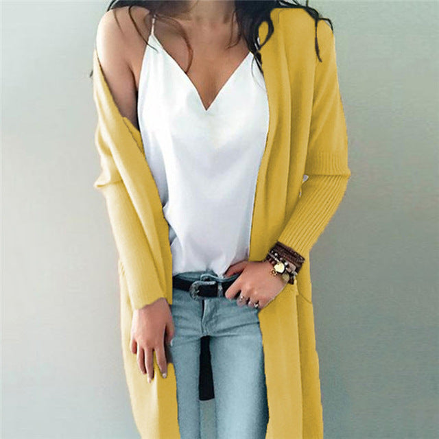 Cardigans Female Casual Long Knitted Spring Autumn Women Loose Solid Color Pocket Design Sweater Outwear 6Q2178