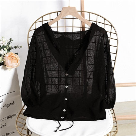 Hooded Thin Sweater Cardigan Women Silk Linen Spring Summer Lace Up V neck Short Design Loose Cape Cardigans Outerwear Female