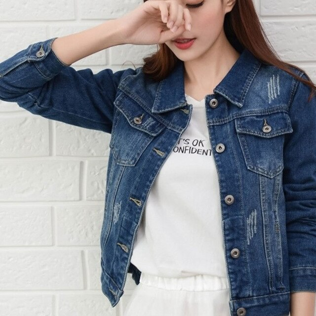 Women White Denim Jackets Female Spring Autumn Streetwear Pockets Button Single Breasted Jeans Jacket Casual Korean Denim Coat