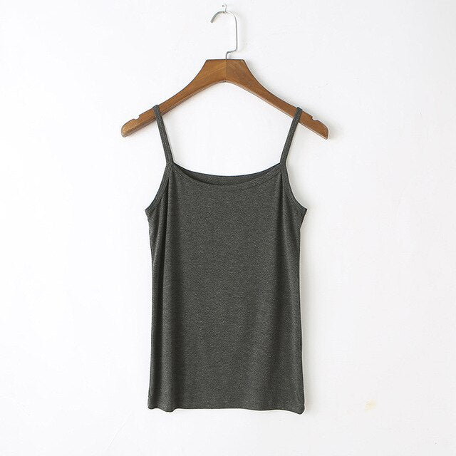 GOPLUS Soft Cotton Basic Strap Tank Top Women Camisole Sleeveless Vests Ladies Streetwear Slim Elastic Halter Tops Female
