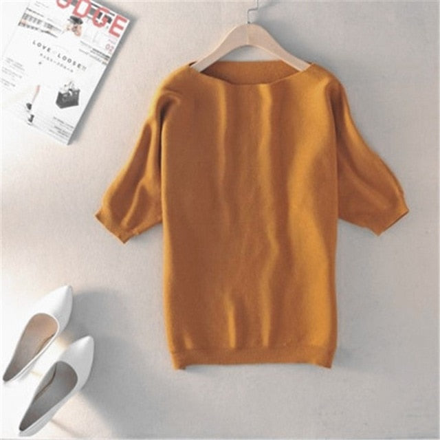 zocept High Quality Cashmere Sweater Women Loose Casual Big Bat Shirt Short Sleeved Knitted Soft and Comfortable Pullovers