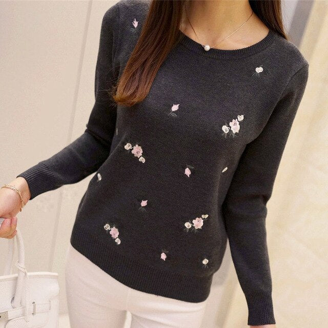 OHCLOTHING Autumn Sweater Women Embroidery Knitted Winter Women Sweater And Pullover Female Tricot Jersey Jumper Pull Femme