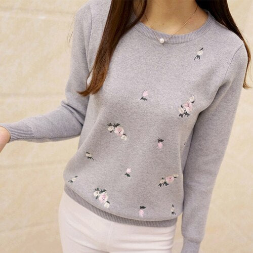 Surmiitro Autumn Sweater Women Embroidery Knitted Winter Women Sweater And Pullover Female Tricot Jersey Jumper Pull Femme