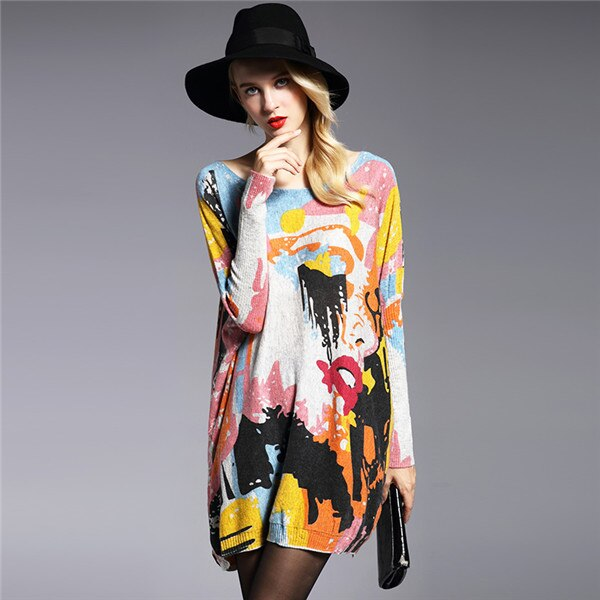 Oversize Sweater Sleeve Print Slash Neck Women's Sweaters Pullovers Computer Knitted Women Sweater