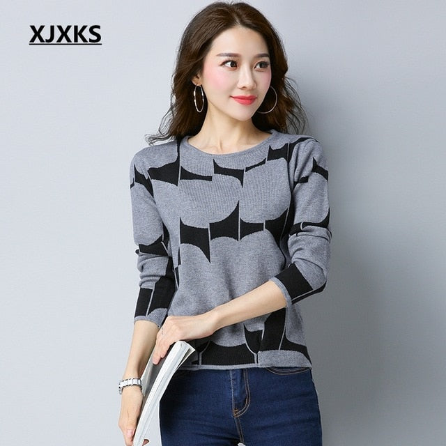 XJXKS Autumn Pullover Sweater Women Long Sleeve O Neck Cashmere Pullover Short Sweaters Slim Knit Wool Bottoming Tops