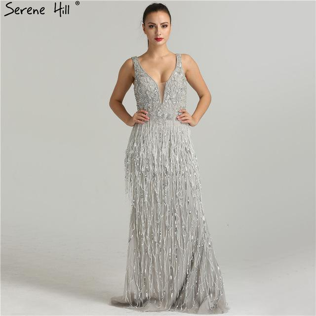 Sexy Deep-V Mermaid Gold Evening Dresses Newest Beading Sequined Evening Gown-SheSimplyShops