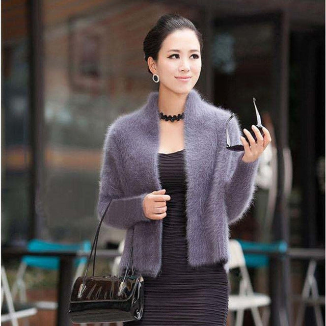 Mink Cashmere Sweater Women Pure Mink Cashmere Knit Cardigan Winter 100% Mink Cashmere Cool Coat Fur Jacket