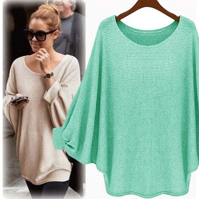 sweater Women candy color Oversized Batwing Knitted Pullover Loose Sweater Knitted Tops high quality clothing