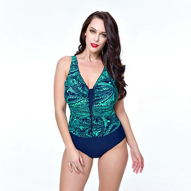 Swimwear Women One Piece Swimsuits Deep V Neck Bathing suit Female Retro Beachwear Women's Swimming suit-SheSimplyShops