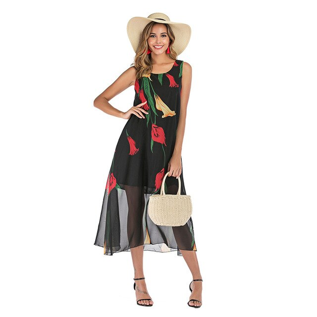 GOPLUS Boho Floral Print Chiffon Dresses Women Strap Sleeveless Midi Dress Lady Summer Elegant Beach Vestidos Female