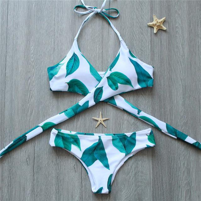 Bikini 2018 Brazilian Women Bikinis Set Floral Cross Swimwear Women Swimsuit Female Sexy Bathing Suit Beachwear Swimming Suits-SWIMWEAR-SheSimplyShops