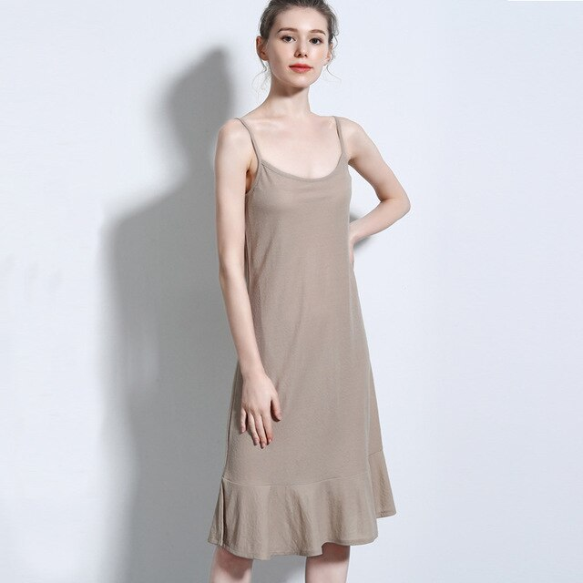 GOPLUS Ruffles Midi Dresses Women Soft Cotton Strap Basic Nightgown Ladies Summer Elegant Sleepwear Casual Vestidos Female