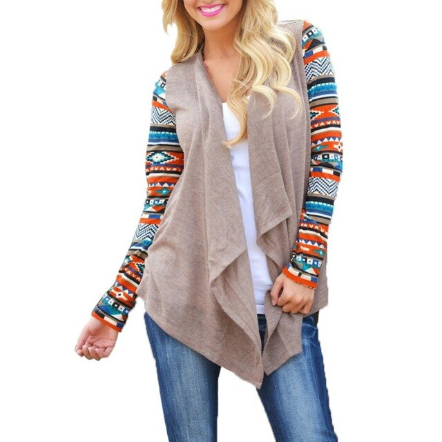 Cardigan Women Sweater Stripe Printed Long Sleeve Cardigan Casual Loose Cotton Top Plus Size Asymmetric Hem Thin Sweater