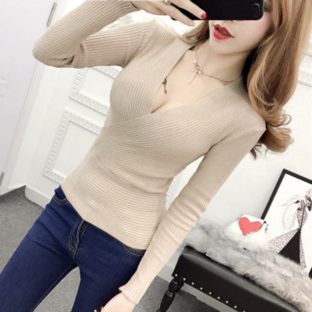 Gkfnmt High Elastic Knitted Sweater Woman V Neck Women Women Sweaters And Pullovers Korean Long Sleeve Pull Femme Red