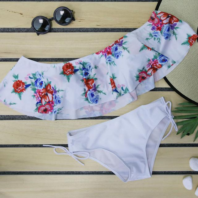 Bikini Low Waist Swimsuit New Flowers Ruffle Bikinis Women Swimwear Bandeau Bottom Solid Top Print Bathing Suits-Bottoms-SheSimplyShops