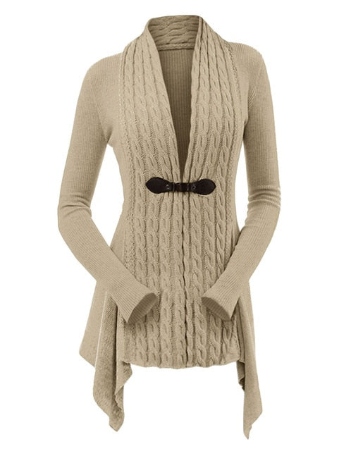 Wipalo Women Casual Cable Knit Buckle Asymmetrical Cardigan Female Solid V Neck Long Sleeve Cardigans Sweater Knitwear