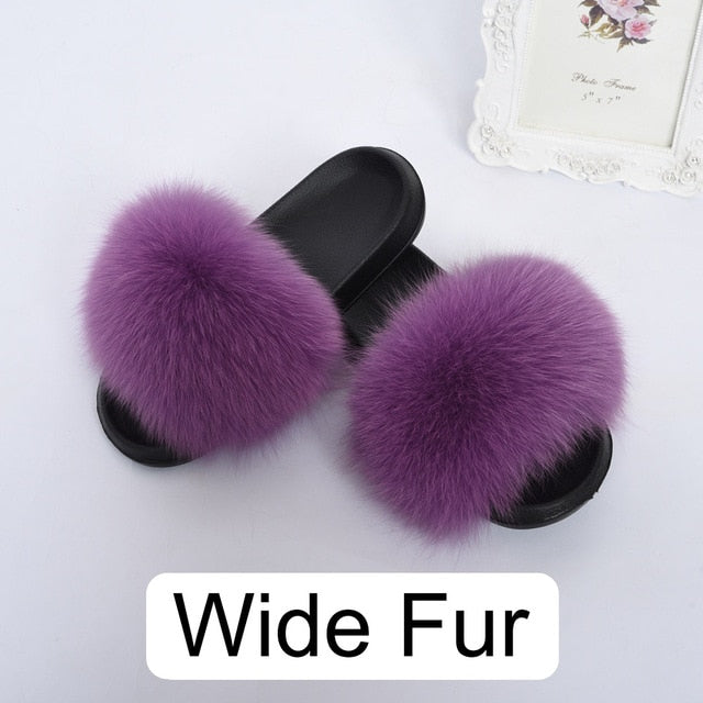 Women Real Fox Wider Fur Slippers Summer Indoor Sliders Natural Fur Slides S6044B