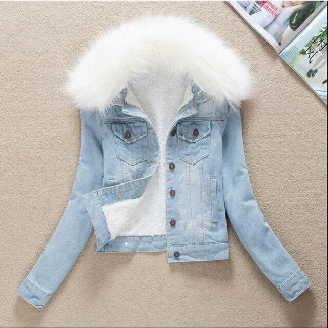 Winter Fur Collar Denim Jackets Plus Velvet Warm parka Outerwear Women Cashmere Cotton Coat Girl Denim Jacket LJ162