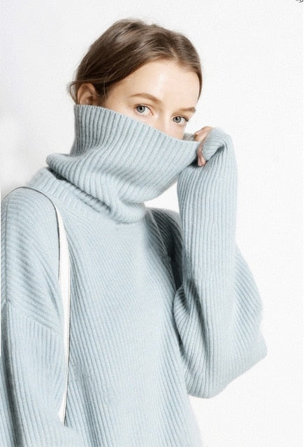 BELIARSTautumn and Winter Thick High Collar Pullover Women loose Cashmere Sweater Warm Large Size Knit Bottoming Sweater